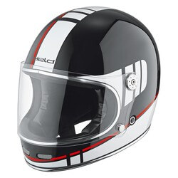 Held - Held Root Retro Kapalı Motosiklet Kaskı (Siyah/Beyaz/Kırmızı) (Thumbnail - )