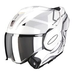 Scorpion - Scorpion EXO TECH Square Çene Açılabilir Motosiklet Kaskı (Beyaz Gümüş) (Thumbnail - )